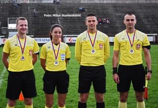 Kup FSJO:Moravac Orion-Sloga 0:1. Sudijska ekipa na finalu. Leskovac,sreda,05.06.2019.